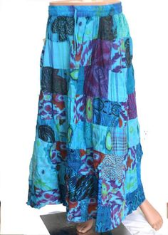 Turquoise Blue Patchwork Skirt