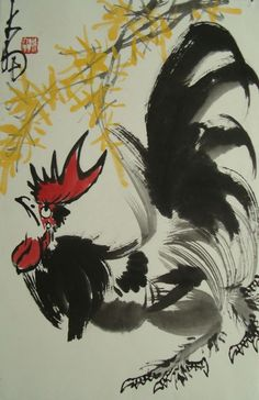 Rooster. Chinese Painting by Chen Dayu - replica h68 w45