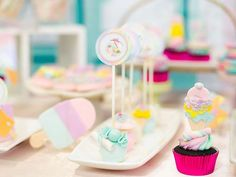 Jillian and Jilleen's Sweet Shoppe Themed Party – Birthday Purple Table, Party Needs, Wonderland Party, Sugar Rush, Host A Party, Party Photos, Rice Krispies, Mini Cupcakes, Dessert Table
