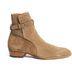 Ankle Boots ($990) ❤ liked on Polyvore featuring men's fashion, men's shoes, men's boots, beige, menshoesboots, mens beige chelsea boots, mens leather shoes, yves saint laurent mens shoes, beige mens dress shoes and mens leather boots