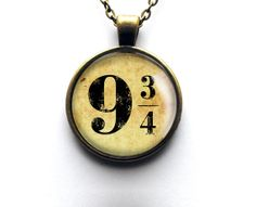 Harry Potter Inspired Necklace Platform 9 3/4 Glass Dome Pendant In Antique Bronze