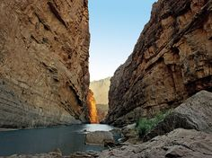 An easy two-mile hike leads between the towering walls of Santa Elena Canyon, where the Rio Grande flows between Texas and 1,500-foot limestone cliffs in Mexico.