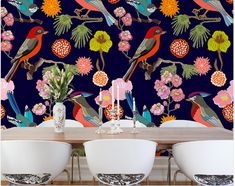 Create a stunning feature wall in any room of your home with the floral birds wall mural. Differentiated by their feathers these beautiful birds supported by various flowers allow your imagination to tip toe through all the seasons on this amazing mural Bird Wallpaper, Home Wallpaper, Wallpaper Ideas, Florida Wallpaper, Wallpaper Murals, Bathroom Wallpaper, Animal Wallpaper, Mural Art, Wall Murals
