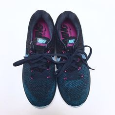 """Nike - Flyknit Lunar 3 Shoes Nike """"Flyknit Lunar 3"""" shoes in blue with subtle magenta details. So light and comfortable. Brand new without tags.  Offers welcome.  No trades.  Bundle for discount. Nike Shoes Athletic Shoes"""