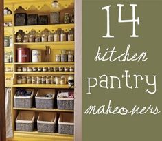DIY: 14 Inspirational Kitchen Pantry Makeover Ideas - for real people with real families! These pantries are different sizes & styles & they all use a variety of containers, baskets, crates, etc.
