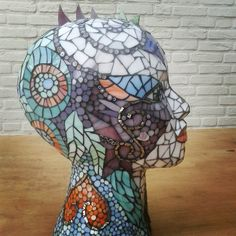Styropor head with stained glass, mille fiori and ceramic tiles(the gold and…