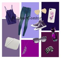 """purple"" by mintythemoonturtle ❤ liked on Polyvore featuring J Brand, Casetify, Anna-Karin Karlsson, Stone Paris, Kate Spade, Waterford, Converse and ColourContest"