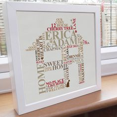 Personalised print. New Home Housewarming word art gift. Picture family engagement present unique typography.