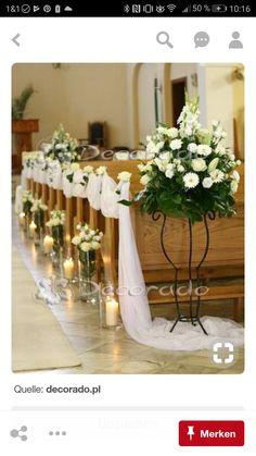 Elegant church decoration - flowers by candlelight church wedding Wedding Church Aisle, Wedding Pews, Wedding Chairs, Wedding Flowers, Wildflowers Wedding, Church Weddings, Decoration Evenementielle, Pew Decorations, Wedding Aisle Decorations