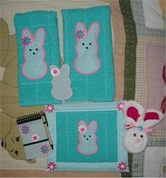 Easter Peep kitchen set. Pot holder, towels, notepad, Peep Brillo scrubbie and wash cloth bunny.
