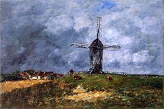Эжен Буден «Кайе. Ветряная мельница в деревне. Утро»