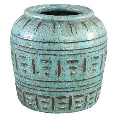 Sendai blue ceramic round pot with border L