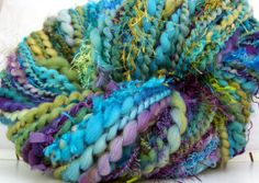Kitty Grrlz Hand Spun Art Yarn - Agate - two skeins available!