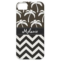 Black and White Chevron Palm Tree iPhone Case iPhone 5/5S Cases