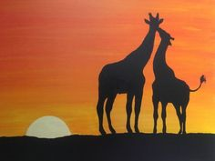 Ideas For Painting Sunset Silhouette Canvases Giraffe Silhouette, Silhouette Painting, Sunset Silhouette, Shadow Painting, Shadow Art, Giraffe Painting, African Art Paintings, Sunset Canvas, Africa Art