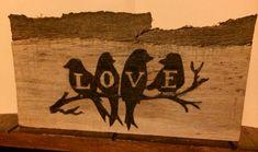 Love birds.  Wood burning.  Pyrography.  Wood craft.