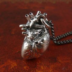 Anatomical Heart Necklace Sterling Silver .925 by LostApostle, $195.00
