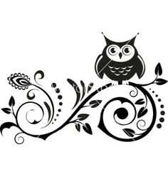 Owl tattoo Could add this to what's on my hip already just like this pic Owl Wall Decals, Clipart Black And White, Owl Pictures, Coloring Pages, Stencils, Clip Art, Silhouette, White Owls, Arabic Calligraphy