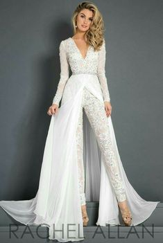 Discount 2018 Lace Chiffon Wedding Dress Jumpsuit With Train Modest V Neck Long Sleeve Beaded Belt Flwy Skirt Beach Casual Jumpsuit Bridal Gown Backless Wedding Dress Expensive Wedding Dresses From Alegant_lady, &Price; Wedding Robe, Wedding Pantsuit, Couture Wedding Gowns, Wedding Dress Chiffon, Backless Wedding, Bridal Gowns, Lace Dress, Lace Chiffon, Modest Wedding