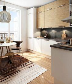 Pris på nyt køkken - Sådan holder du dit køkkenbudget i bund Granite Kitchen, Kitchen Dining, Minimalist Kitchen, Cuisines Design, Wooden Flooring, Wooden Tables, Decoration, Home Kitchens, Kitchen Remodel