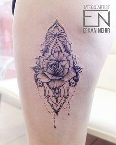 thigh mandala rose tattoo #thigh #tattoo #tattoos #rose #black #grey #leg #girl #girly #chain #mandala #linework