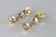 Vintage Joan Rivers #crystal Rhinestone #Earrings long dangle #wedding, clip on hollywood regency