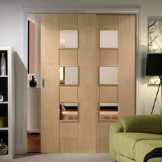 Easi-Slide OP3 Oak Messina Sliding Door System with Clear Glass in Four Size Widths. #internaloakroomdividers #modernoakslidingdoors #interiordesignroomdividers
