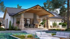 DOM.PL™ - Projekt domu PWD BW-39 wariant 6 CE - DOM PW2-84 - gotowy koszt budowy My House Plans, Rustic House Plans, Modern Exterior Lighting, Carport Patio, Hillside House, Compact House, Weekend House, Facade House, My Dream Home