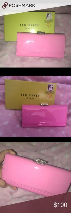 Ted Baker pink wallet Absolutely love this but never got around to using it. Gorgeous pink color with gold hardware. Use as a wallet or as a clutch Ted Baker Bags