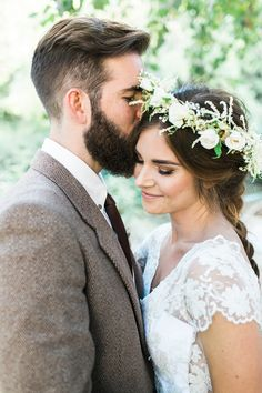 Everything. This photo. He grooms outfit: color & style. Her hair and hair and floral head piece is cuter earthy/Boho theme. Spring wedding. Shields Wedding 2017.
