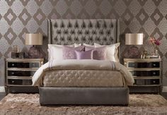Luxury In Lavender: Fill your bedroom with soft, luxurious fabrics that make reality better than your dreams. Amelia Tall Queen Bed, $1,999. Wallpaper Living Style Damask hx9007