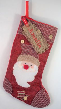 c7ef0ecdd Personalised Luxury Embroidered Xmas Stocking Sack Santa Deluxe Christmas
