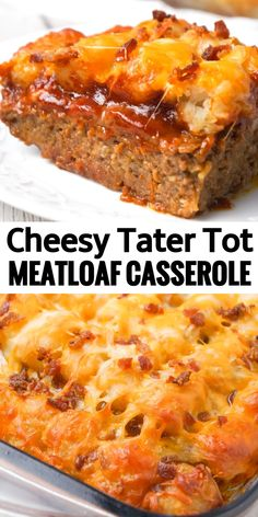 Cheesy Tater Tot Meatloaf Casserole is an easy ground beef dinner recipe with a meatloaf base, topped with a ketchup and bbq sauce glaze, tater tots, shredded cheese and crumbled bacon. beef easy Cheesy Tater Tot Meatloaf Casserole - This is Not Diet Food Ground Beef Recipes Easy, Beef Recipes For Dinner, Vegan Recipes Easy, Cooking Recipes, Casseroles With Ground Beef, Kitchen Recipes, Dinner Ideas With Hamburger, Main Meal Recipes, Recipes Using Ground Turkey