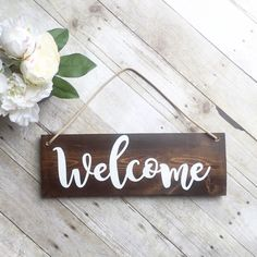 Welcome Sign For Front Door - Wreath Sign - Outdoor Sign - Wood Sign - Home…