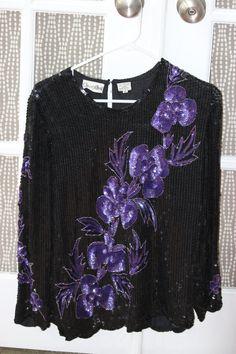 "80s Vintage Champ Ellyse ""MIDNIGHT GLAMOUR"" Long-Sleeve Sequin Top (Medium)"