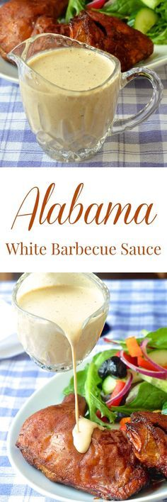 White Barbecue Sauce - an Alabama favorite! More of a condim.- White Barbecue Sauce – an Alabama favorite! More of a condiment than a BBQ sauce this tangy, creamy sauce compliments both smoked and grilled chicken & pork. White Bbq Sauce, Barbecue Sauce, Bbq Sauces, Dipping Sauces, Barbecue Chicken, Chicken Dips, Grilled Chicken Sides, Sauce For Grilled Chicken, Smoked Chicken Salad