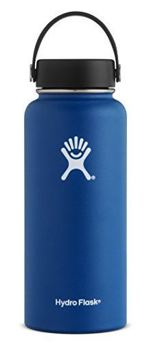 Hydro Flask 64 oz Double Wall Vacuum Insulated Stainless Steel Leak Proof Sports Water Bottle, Wide Mouth with BPA Free Flex Cap, Cobalt. For product info go to:  https://all4hiking.com/products/hydro-flask-64-oz-double-wall-vacuum-insulated-stainless-steel-leak-proof-sports-water-bottle-wide-mouth-with-bpa-free-flex-cap-cobalt/