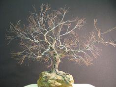 Copper wire tree - Bonsai or Penjing style - recycled materials - Wabi sabi - Broom style - Hokidashi