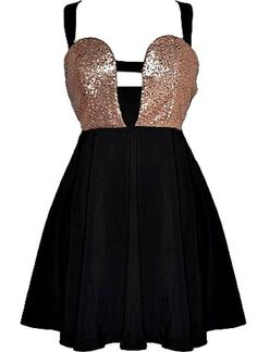 Walk of Fame Dress: Features bold black straps which cross over at the back twice, sparkling bronze sequin bodice divided in the middle by another strap for a cute peekaboo effect, and a beautifully gathered A-line skirt to finish.
