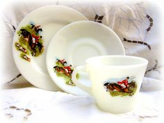 JAJ Pyrex Tally Ho Tea Cup and Plate Trio 1960's by TeaWithKitty, £7.00