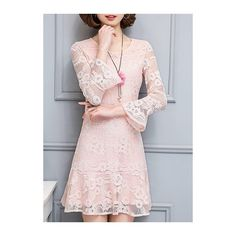 Rotita Pink Frill Hem Flare Sleeve Lace Dress ($32) ❤ liked on Polyvore featuring dresses, pink, pink mini dress, long-sleeve maxi dresses, long-sleeve lace dress, pink lace dress and long sleeve print dress