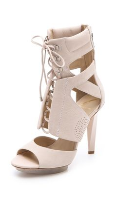 B Brian Atwood Deliziosa Laced Sandals  Very cool shooties!