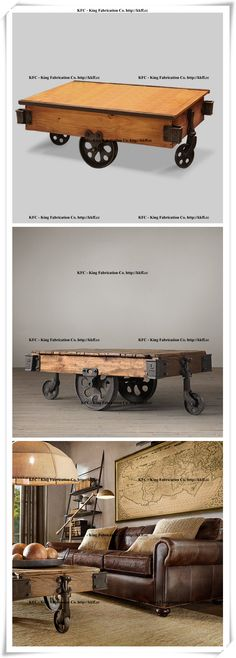 Industrial wind vintage worn pine cast iron wheel cart coffee table_Cabinets_King Fabrication Co. - Iron and Wood Products wholesale.