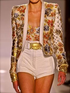 Balmain, model, runway, haute couture, couture, fashion, high fashion, Paris Fashion Week, fashion week, lace, beading, sequins, gemstones, crystals, roses, tweed, vintage, biker, detail, embroidery, gold, filigree, jewelry, armor, antique, couturier, atelier, fashion designer, princess, fairy tale,