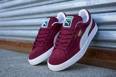 PUMA Suede Classic Cabernet Red is now releasing featuring a red suede base upper with white detailing. You can now purchase this PUMA Suede Classic here Sneaker Outfits, Converse Sneaker, Sneaker Boots, Sneaker Bar, Sneaker Trend, Pumas Shoes, Men's Shoes, Shoe Boots, Shoes Style