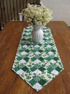 Pretty Table Runner - cool greens for summer