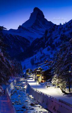 The Blue Hour - Matterhorn in Zermatt, Switzerland http://zermatt.hifromswitzerland.com #switzerland #schweiz #swiss
