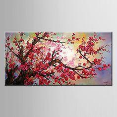 Pintados à mão Vida Imóvel / Floral/BotânicoModern 1 Painel Tela Hang-painted pintura a óleo For Decoração para casa de 3352547 2016 por R$152,07