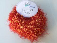 On Line PUNTA Linie 43  Eyelash and Boucle Orange Yarn / Orange Soft Textured Eyelash Yarn by dcoyshouseofyarn on Etsy