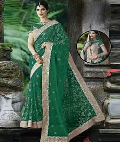 Buy Green Net Party Wear Saree 76841 with blouse online at lowest price from vast collection of sarees at Indianclothstore.com.